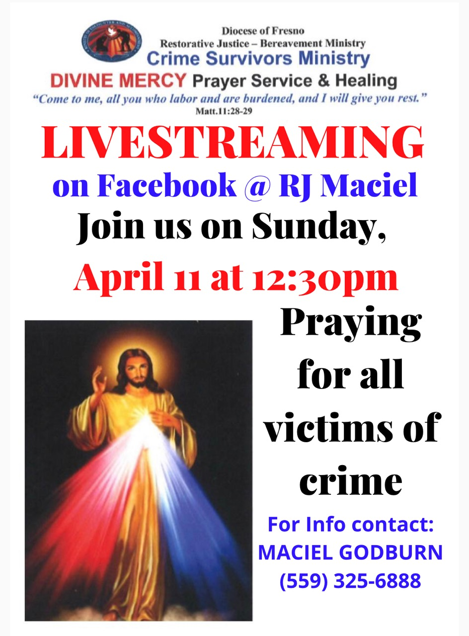 Divine Mercy Prayer Service on April 11 at 12:30 PM